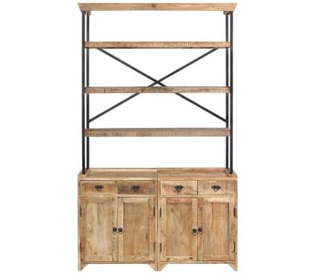 vidaXL Šoninė spintelė su lentynomis, mango mediena, 120x35x200cm[3/14]