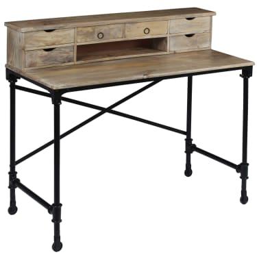 vidaXL Rašomasis stalas, mango mediena ir plienas, 110x50x96cm[1/13]