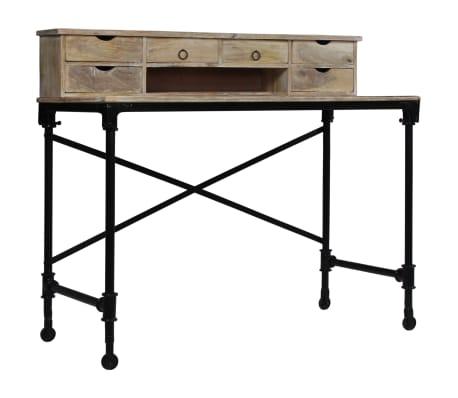 vidaXL Rašomasis stalas, mango mediena ir plienas, 110x50x96cm[13/13]