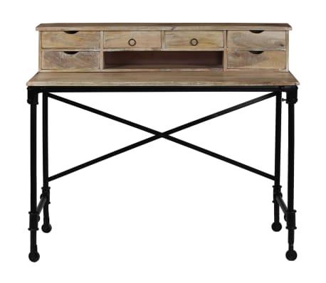 vidaXL Rašomasis stalas, mango mediena ir plienas, 110x50x96cm[3/13]