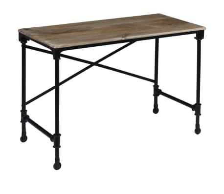 vidaXL Rašomasis stalas, mango mediena ir plienas, 110x50x96cm[4/13]