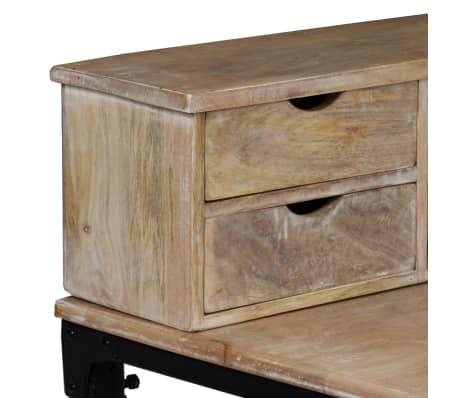 vidaXL Rašomasis stalas, mango mediena ir plienas, 110x50x96cm[5/13]