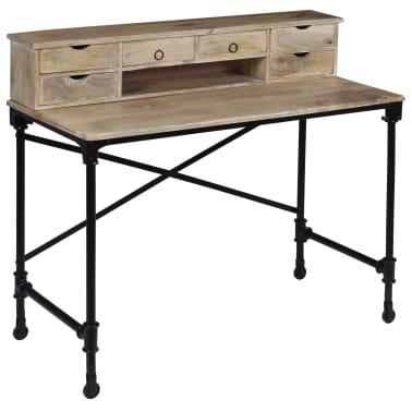 vidaXL Rašomasis stalas, mango mediena ir plienas, 110x50x96cm[11/13]