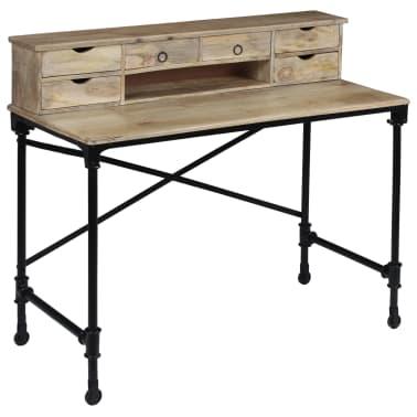 vidaXL Rašomasis stalas, mango mediena ir plienas, 110x50x96cm[12/13]