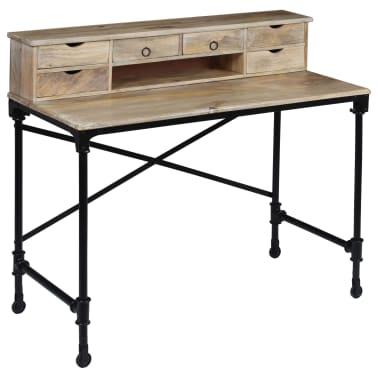 vidaXL Rašomasis stalas, mango mediena ir plienas, 110x50x96cm[8/13]