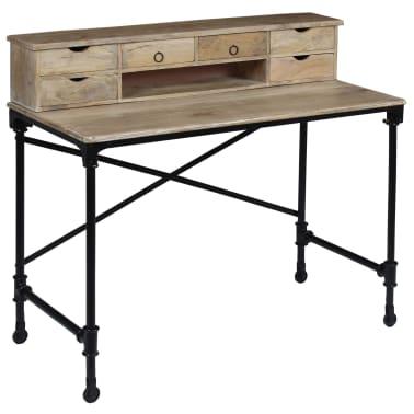 vidaXL Rašomasis stalas, mango mediena ir plienas, 110x50x96cm[9/13]