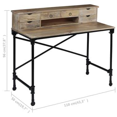 vidaXL Rašomasis stalas, mango mediena ir plienas, 110x50x96cm[10/13]