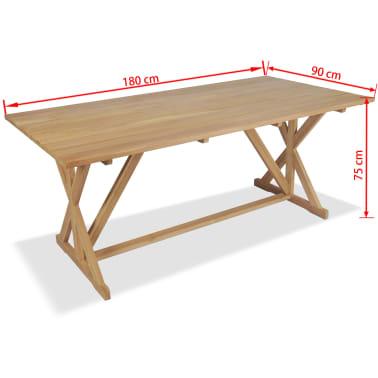 vidaXL Stół do jadalni z litego drewna tekowego, 180 x 90 x 75 cm[8/8]