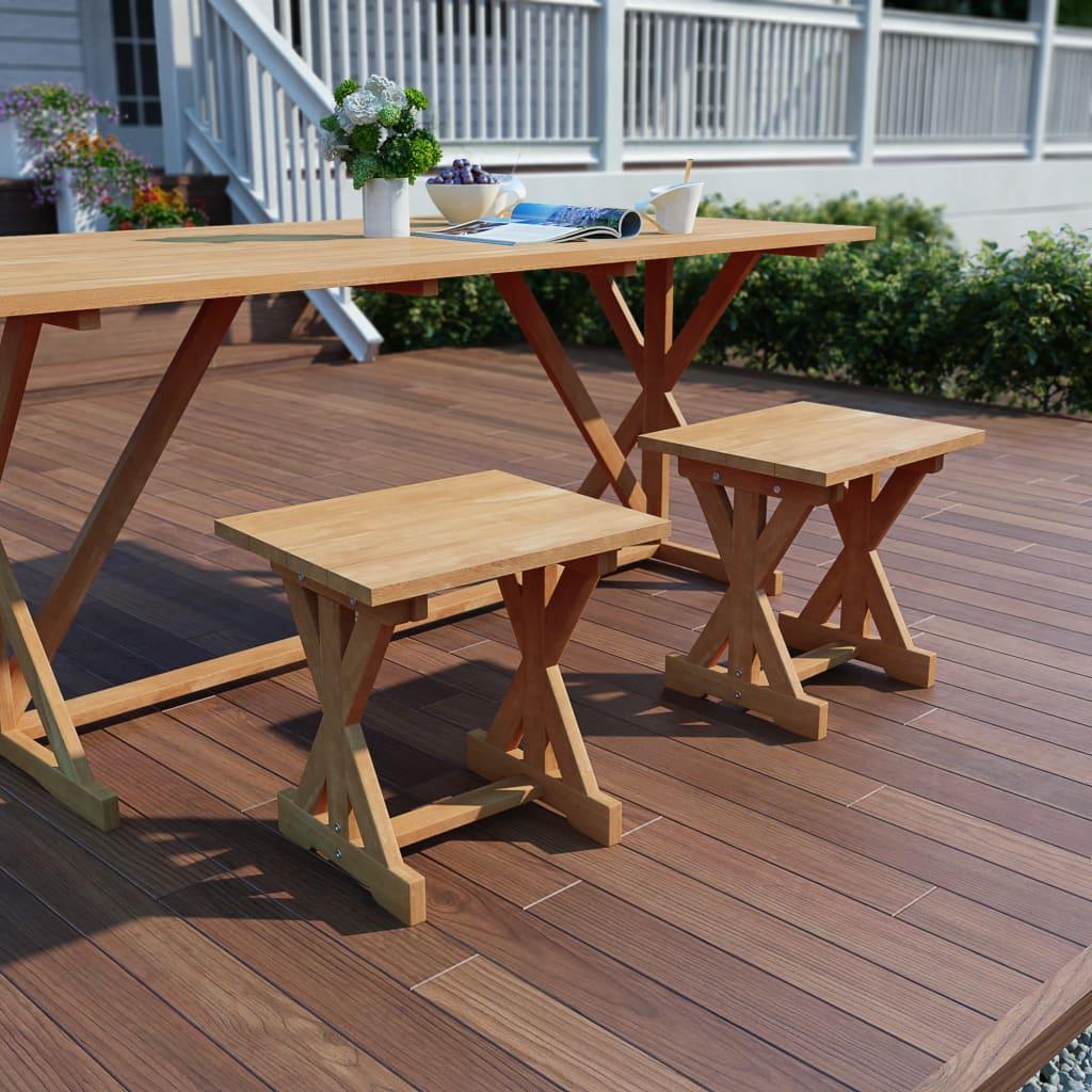 vidaXL Taburete de grădină, 2 buc., 42 x 35 x 45 cm, lemn masiv de tec poza 2021 vidaXL