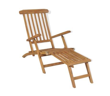 vidaXL Chaise de terrasse avec repose-pied Bois de teck solide