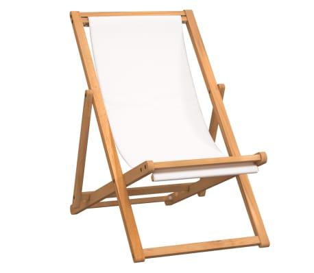 """vidaXL Deck Chair Teak 22.1""""x41.3""""x37.8"""" Cream"""