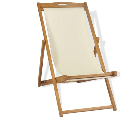 vidaXL Tumbona de teca 56x105x96 cm color crema[2/11]