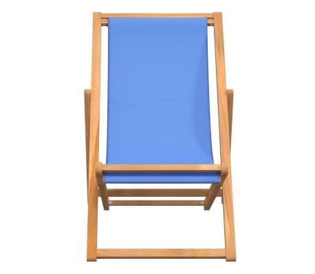 vidaXL Tumbona de teca 56x105x96 cm color azul[2/11]