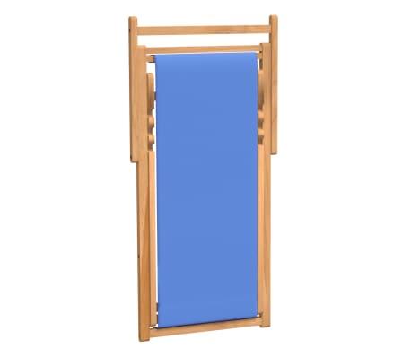 vidaXL Tumbona de teca 56x105x96 cm color azul[5/11]