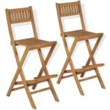 vidaXL foldbare udendørs barstole 2 stk. massivt teaktræ