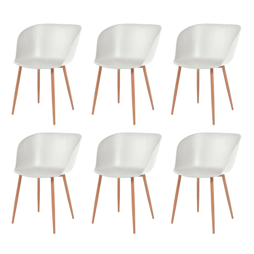 vidaXL Καρέκλες Τραπεζ. 6 τεμ. Λευκές Πλαστικό Κάθισμα/Ατσάλινα Πόδια