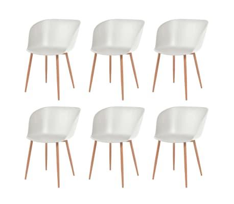 vidaXL Krzesła stołowe, 6 szt., białe, plastikowe