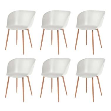 vidaXL Komplet 6 krzeseł, białe, plastikowe siedziska i stalowe nogi[1/6]