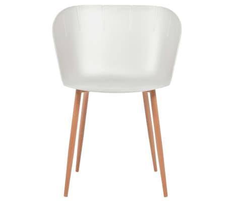 vidaXL Komplet 6 krzeseł, białe, plastikowe siedziska i stalowe nogi[3/6]