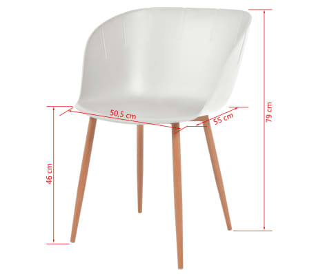 vidaXL Komplet 6 krzeseł, białe, plastikowe siedziska i stalowe nogi[6/6]
