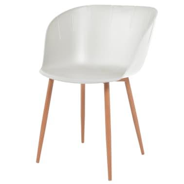 vidaXL Komplet 6 krzeseł, białe, plastikowe siedziska i stalowe nogi[2/6]
