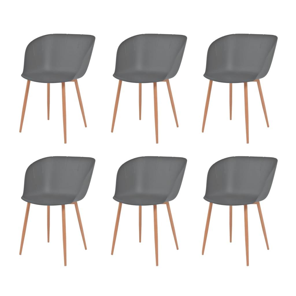 vidaXL Καρέκλες Τραπεζ. 6 τεμ. Γκρι Πλαστικό Κάθισμα/Ατσάλινα Πόδια