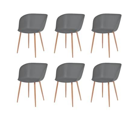 vidaXL Krzesła stołowe, 6 szt., szare, plastikowe