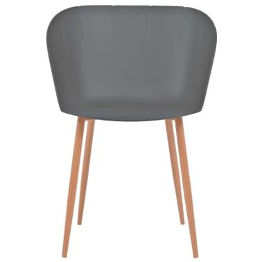 vidaXL Komplet 6 krzeseł, szare, plastikowe siedziska i stalowe nogi[2/6]