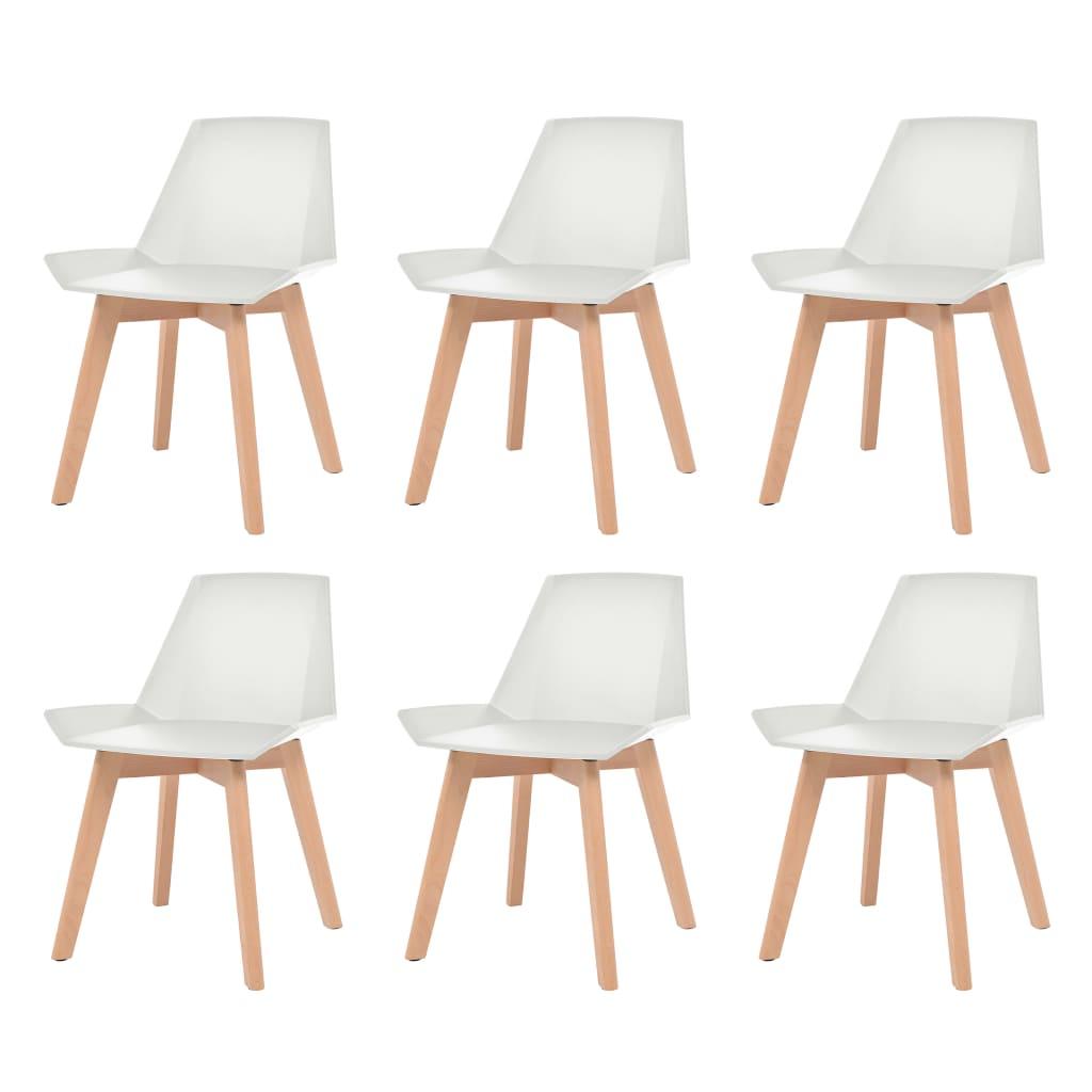 vidaXL Καρέκλες Τραπεζαρίας 6 τεμ. Λευκές Πλαστικό Κάθισμα/Πόδια Οξιάς