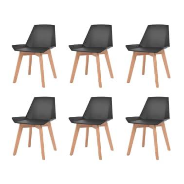 vidaXL Spisestoler 6 stk svart plastsete bøketreben[1/6]