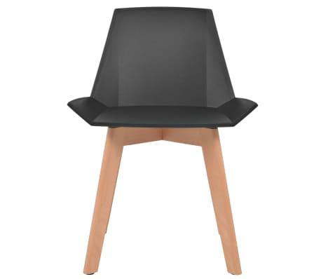 vidaXL Spisestoler 6 stk svart plastsete bøketreben[2/6]