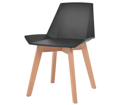 vidaXL Spisestoler 6 stk svart plastsete bøketreben[3/6]
