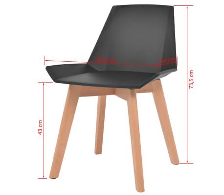 vidaXL Spisestoler 6 stk svart plastsete bøketreben[6/6]