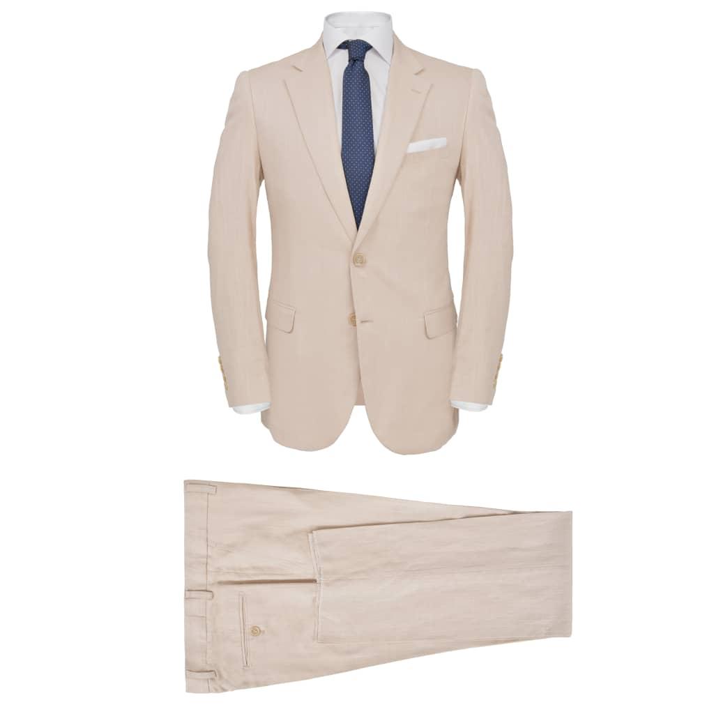 vidaXL Pánský dvoudílný oblek vel. 52, lněný, béžový