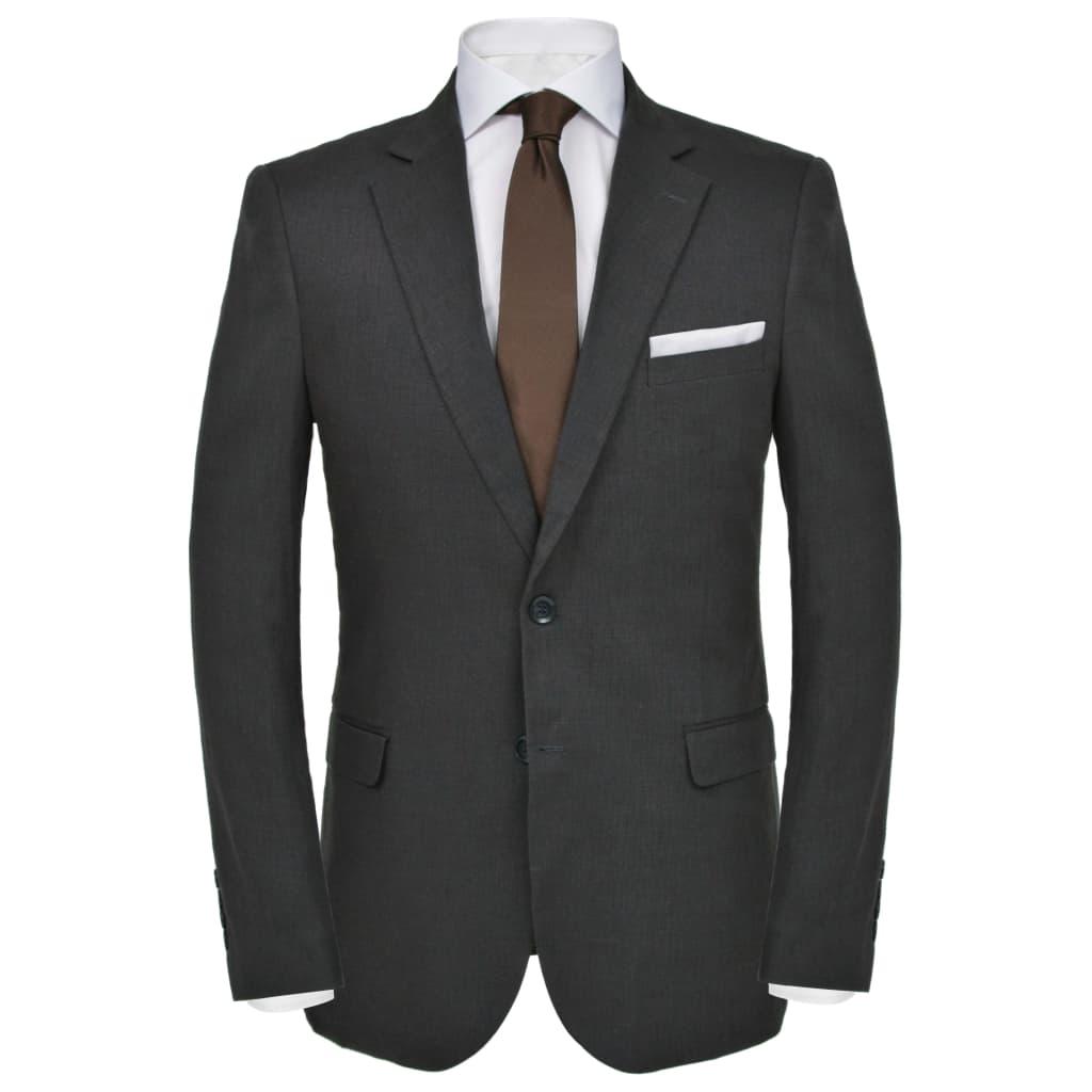 vidaXL Pánský dvoudílný oblek vel. 46, lněný, tmavě šedý