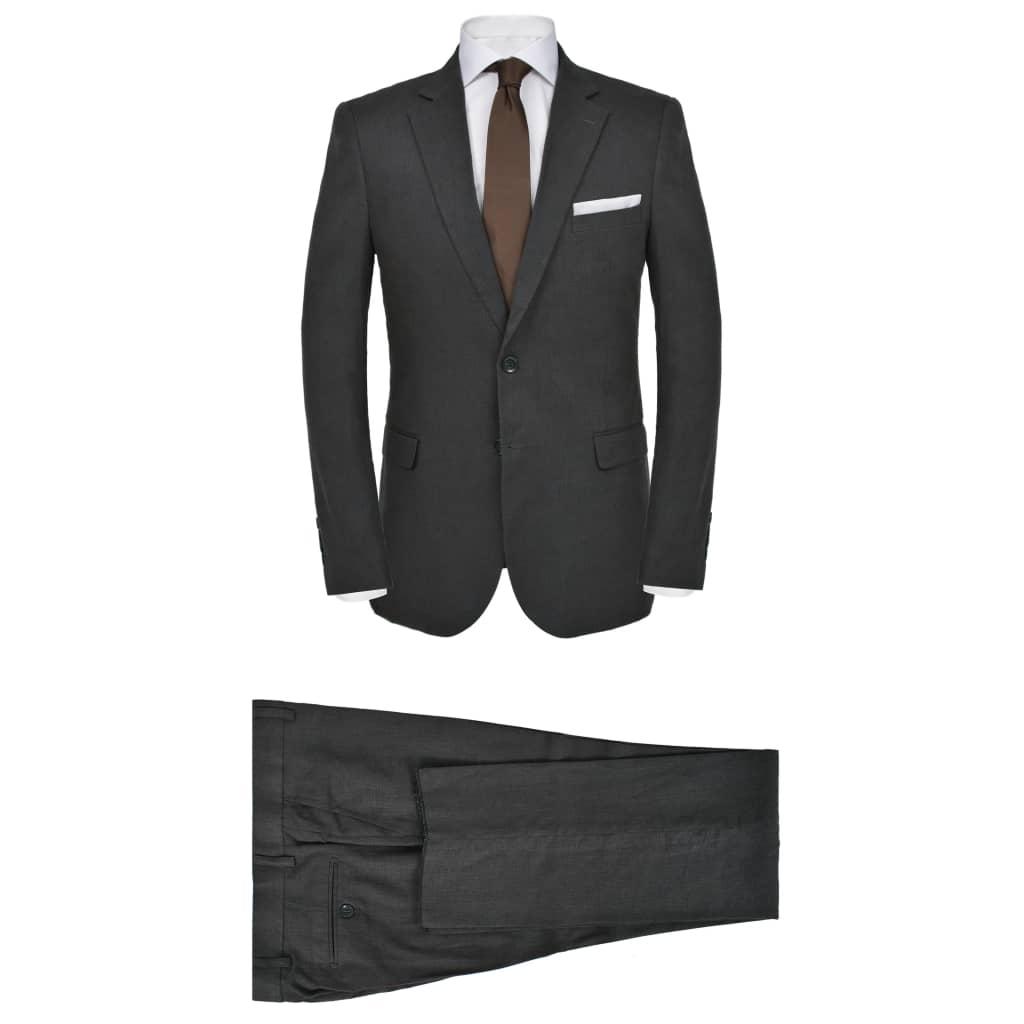 vidaXL sötétszürke kétrészes férfi vászon öltöny 48-as méret