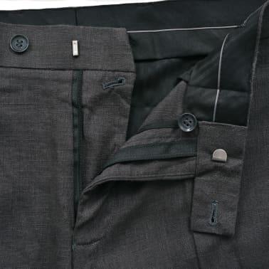 vidaXL Lniany garnitur męski, 2-częściowy, rozmiar 50, ciemnoszary[9/10]