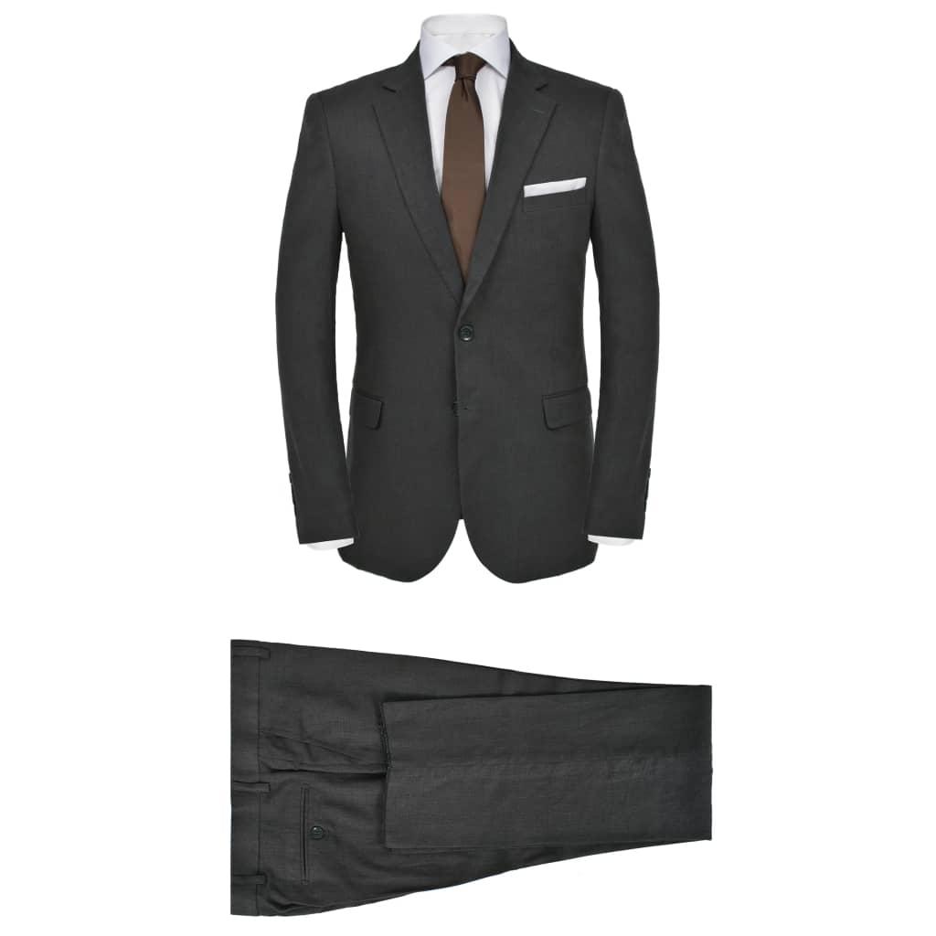 vidaXL sötétszürke kétrészes férfi vászon öltöny 52-es méret