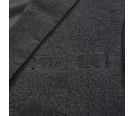 vidaXL Lniany garnitur męski, 2-częściowy, rozmiar 52, ciemnoszary[7/10]