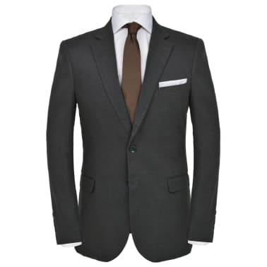vidaXL Lniany garnitur męski, 2-częściowy, rozmiar 52, ciemnoszary[2/10]