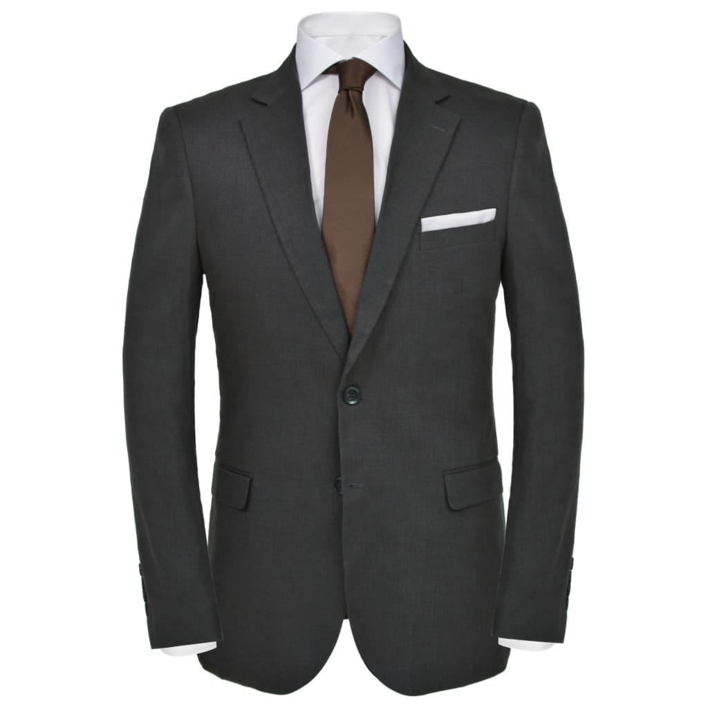 vidaXL Pánský dvoudílný oblek vel. 54, lněný, tmavě šedý