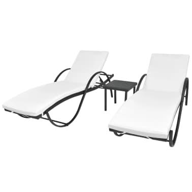 vidaXL Jeu de chaises longues avec table 5 pcs Résine tressée Noir[1/11]