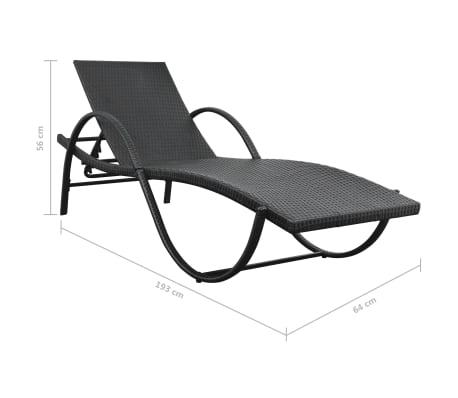 vidaXL Jeu de chaises longues avec table 5 pcs Résine tressée Noir[10/11]