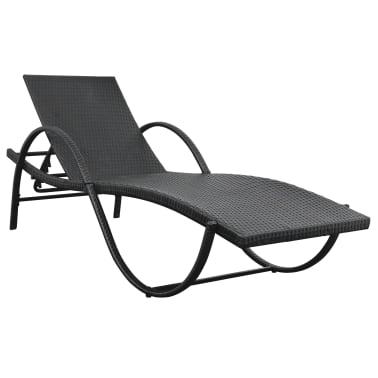 vidaXL Jeu de chaises longues avec table 5 pcs Résine tressée Noir[6/11]