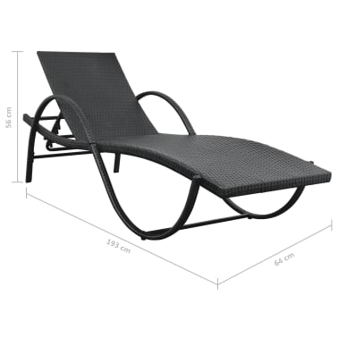 vidaXL Sonnenliege mit Tisch 5-tlg. Set Poly Rattan Schwarz[10/11]