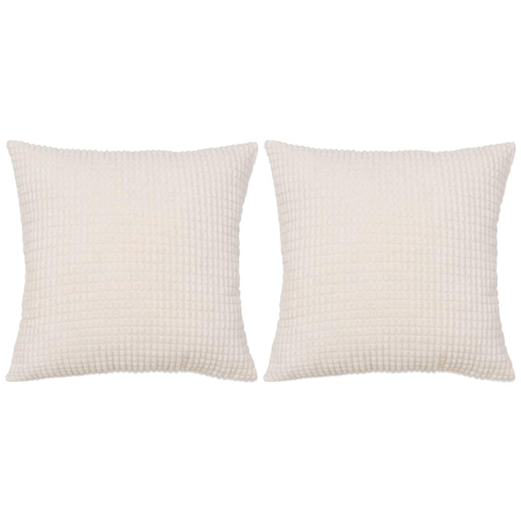 999132896 Kissen-Set 2 Stk. Velours 60 x 60 cm Gebrochen Weiß