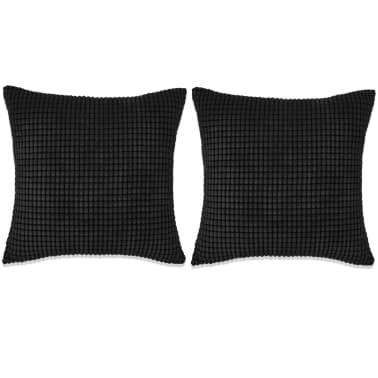 vidaXL Set Jastuka 2 kom od Velura 45x45 cm Crni[1/5]