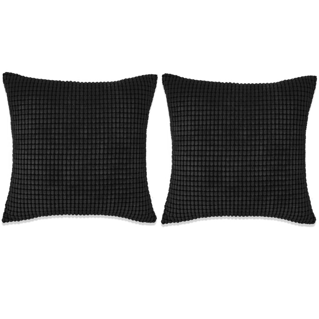 vidaXL Set perne decorative 2 buc. Velur 60 x 60 cm Negru poza vidaxl.ro