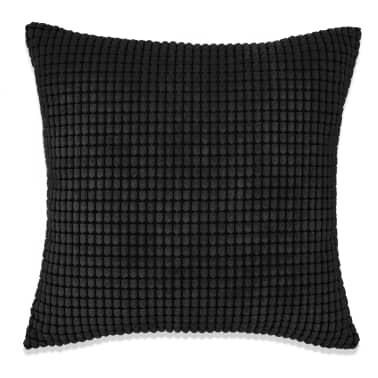 vidaXL Kissen-Set 2 Stk. Velours 60 x 60 cm Schwarz[2/5]