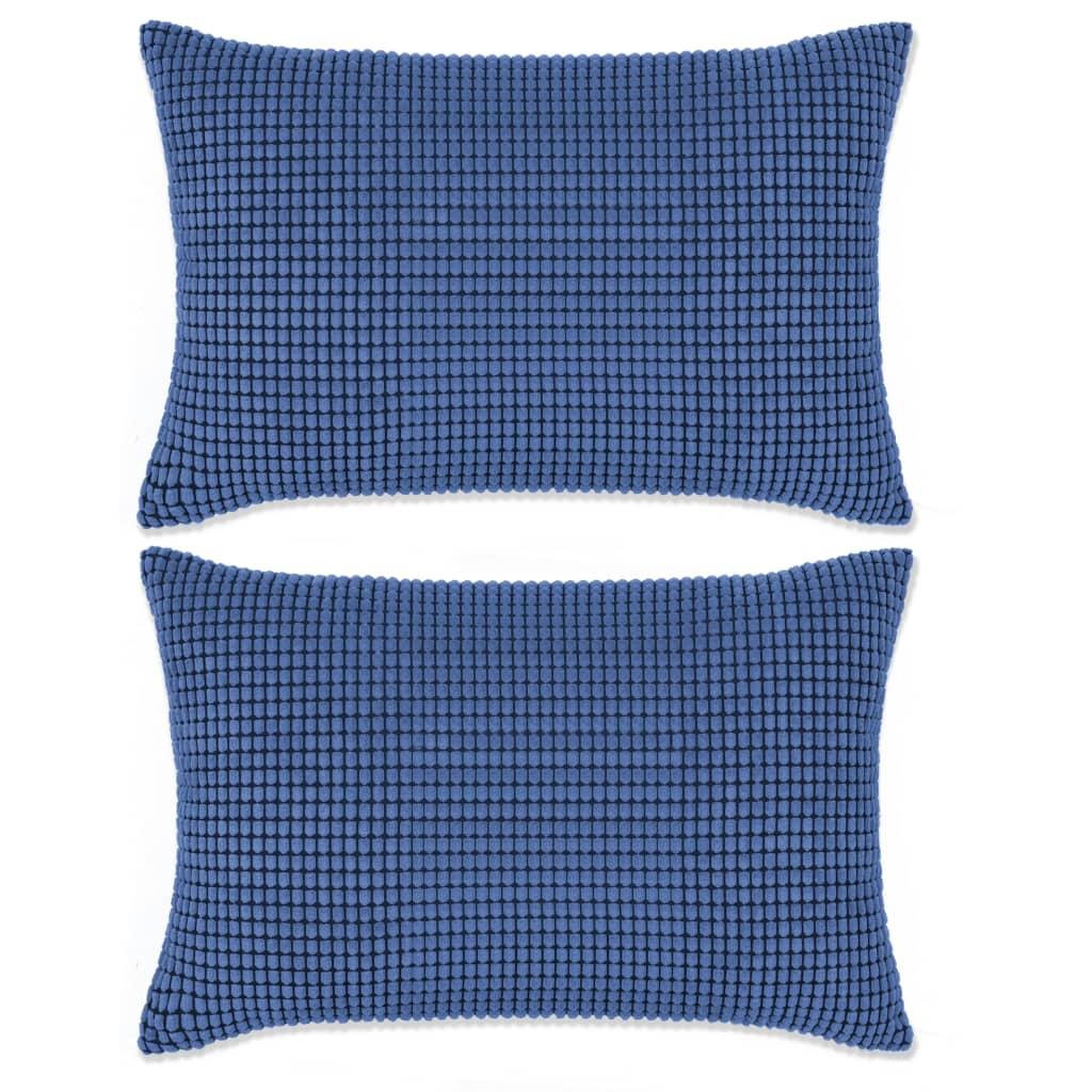 999132907 Kissen-Set 2 Stk. Velours 40 x 60 cm Blau